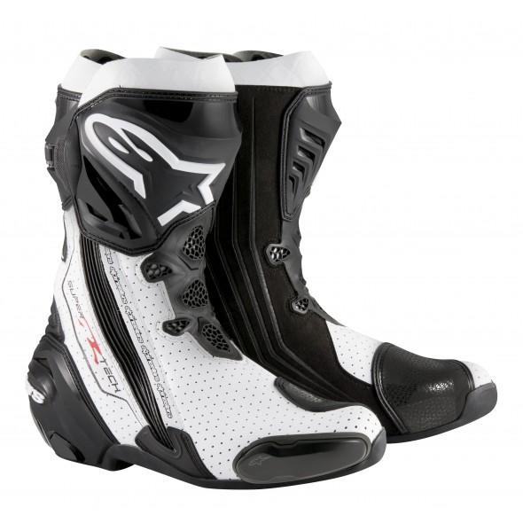 Topánky SUPERTECH R, ALPINESTARS (čierne/biele/perforovaná koža)