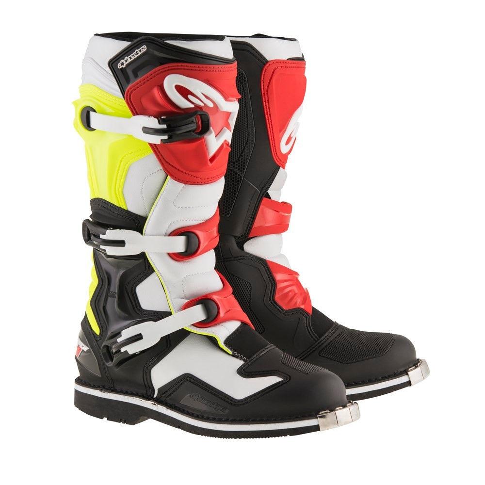 Topánky TECH 1 2018, ALPINESTARS (biele/čierne/žlté fluo/červené)