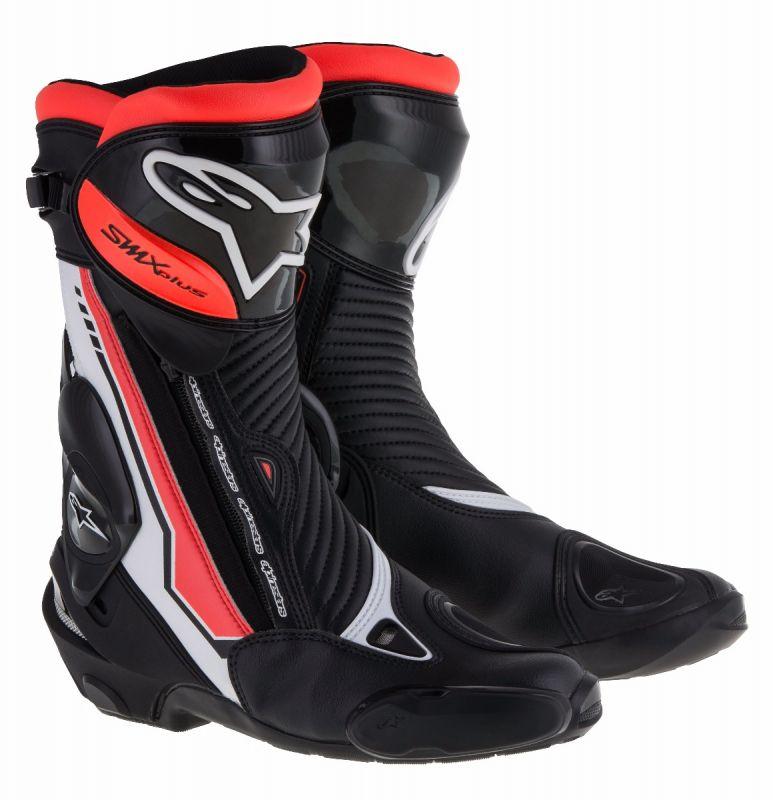 Topánky  SMX PLUS, ALPINESTARS (čierne/biele/červené fluo)