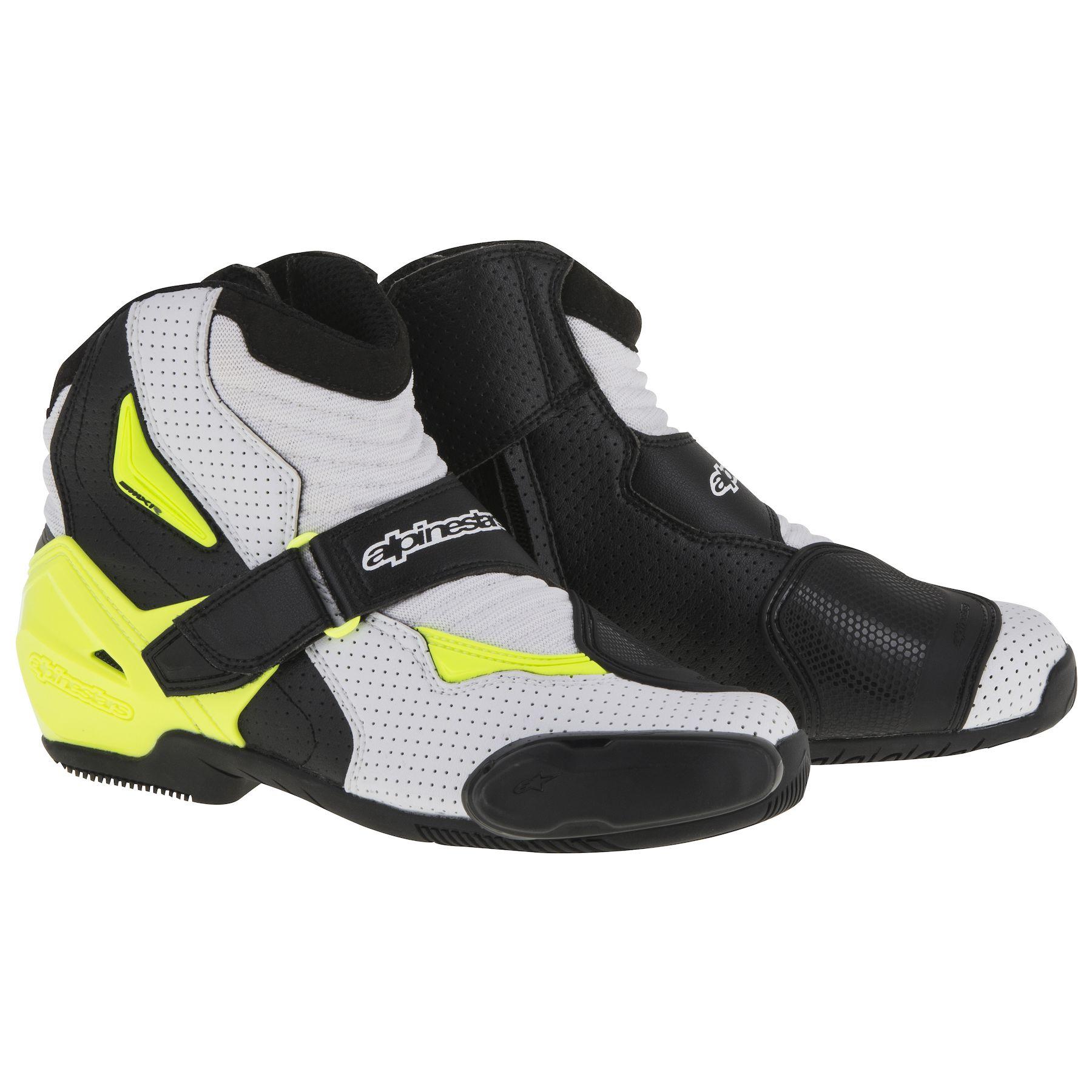 Topánky SMX-1 R Vented, ALPINESTARS (čierne/biele/žlté fluo,perforovaná koža)