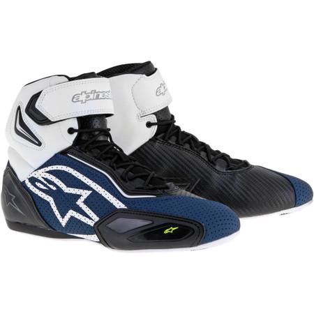 Topánky FASTER 2 Vented, ALPINESTARS (čierne/modré/biele/žlté fluo /perforované prevedenie)