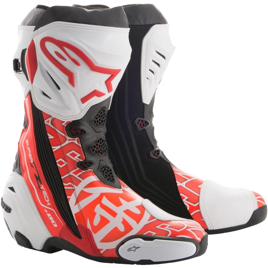 Topánky SUPERTECH R SAMURAI REPLIKA DANI PEDROSA, ALPINESTARS (biele/červené fluo/šedé/čierne/ perforovaná koža)
