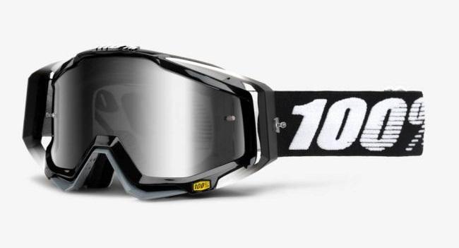 Okuliare RACECRAFT ABYSS BLACK, 100% (strieborné plexi/číre plexi/chránič nosa/20 strhávačiek