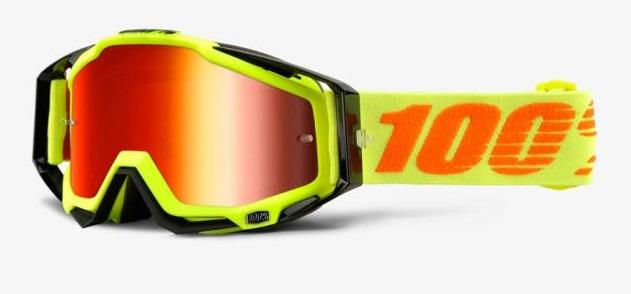 Okuliare Racecraft Attack Yellow, 100% (červené plexi/číre plexi/chránič nosa/20 strhávačiek