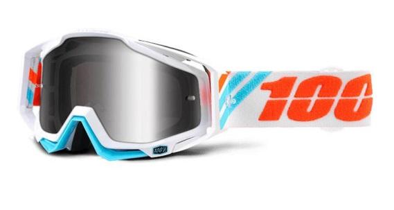 Okuliare RACECRAFT CALCULUS ICE, 100% (strieborné plexi/číre plexi/chránič nosa/20strhávačiek