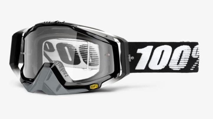 Okuliare RACECRAFT ABYSS BLACK, 100% (číre plexi/chránič nosa/20 strhávačiek)