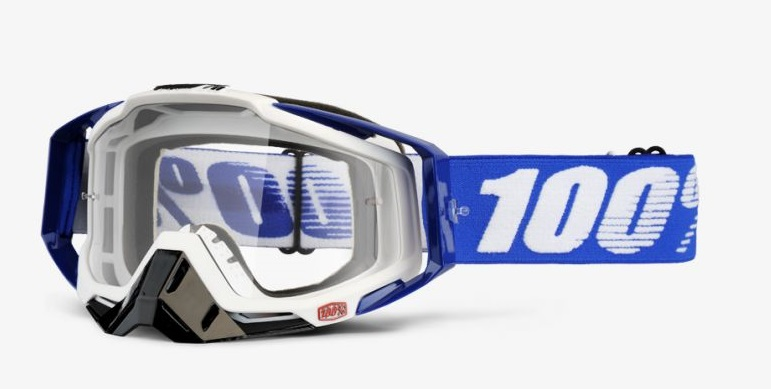 Okuliare RACECRAFT COBALT BLUE, 100% (číre plexi/chránič nosa/20 strhávačiek)