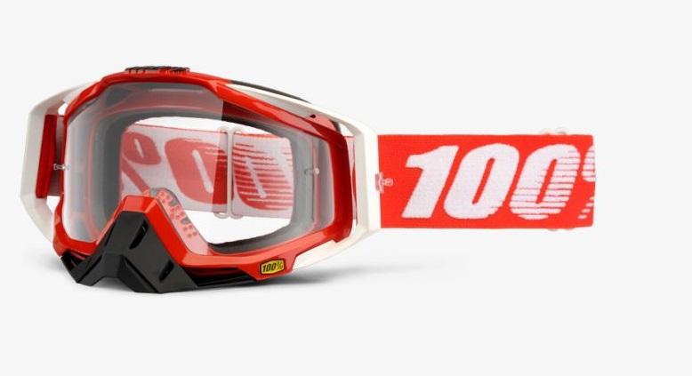 Okuliare RACECRAFT FIRE RED, 100% (číre plexi/chránič nosa/20 strhávačiek)