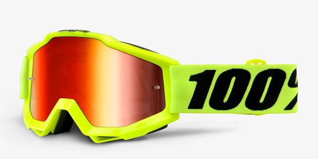 Okuliare ACCURI FLUO YELLOW, 100% (červené chrom plexi/číre plexi)