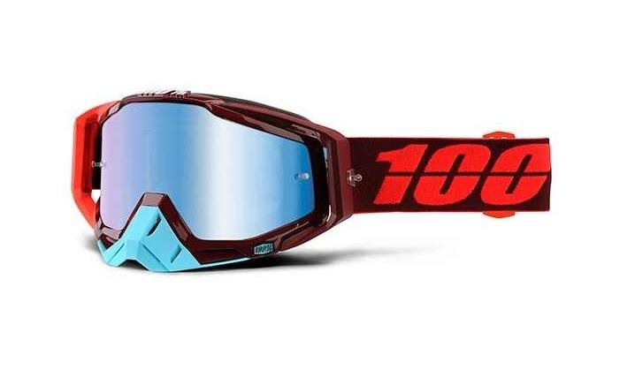 Okuliare RACECRAFT KIKASS, 100% (modré plexi/číre plexi/chránič nosa/20 strhávačiek)