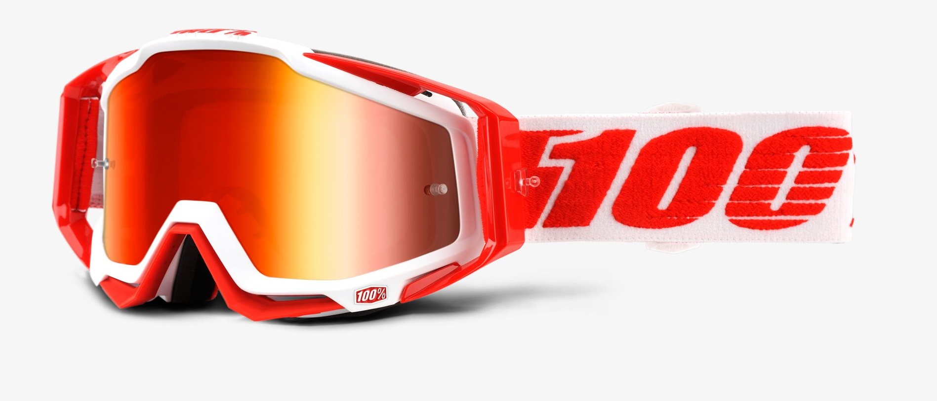 Okuliare RACECRAFT BILAL, 100% (červené plexi/číre plexi/chránič nosa/20strhávačiek)