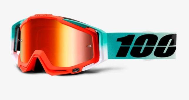 Okuliare RACECRAFT CUBICA, 100% (červené plexi/číre plexi/chránič nosa/20strhávačiek)