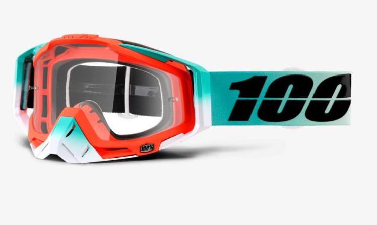Okuliare RACECRAFT CUBICA, 100% (číre plexi/chránič nosa/10 strhávačiek)