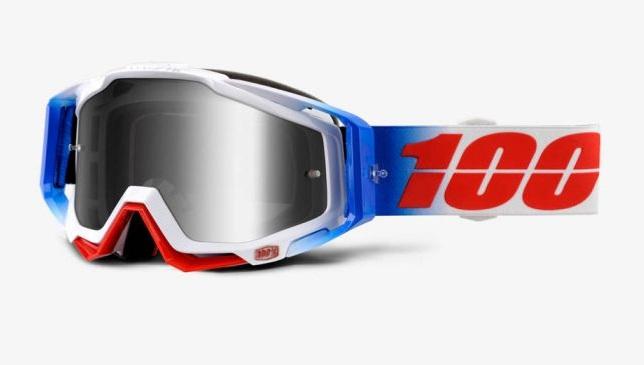 Okuliare RACECRAFT FOURTH, 100% (strieborné plexi/číre plexi/chránič nosa/20 strhávačiek