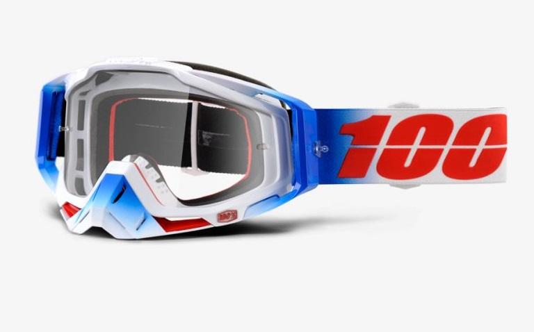 Okuliare RACECRAFT FOURTH, 100% (číre plexi/chránič nosa/10 strhávačiek)