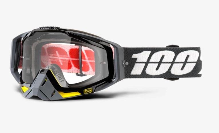 Okuliare RACECRAFT FORTIS, 100% (číre plexi/chránič nosa/10 strhávačiek)