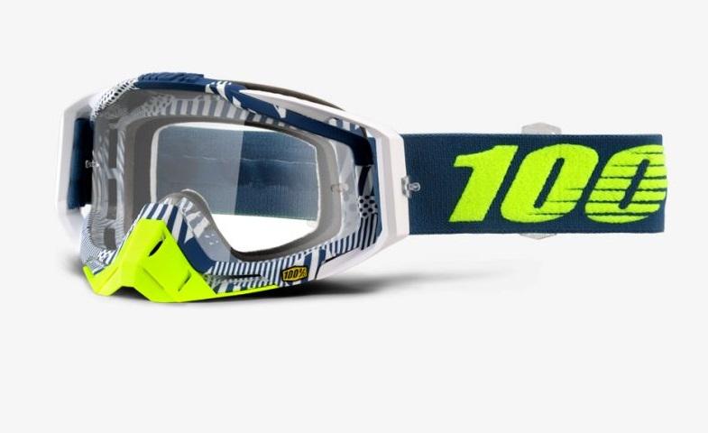Okuliare RACECRAFT ECLIPSE, 100% (číre plexi/chránič nosa/10 strhávačiek)