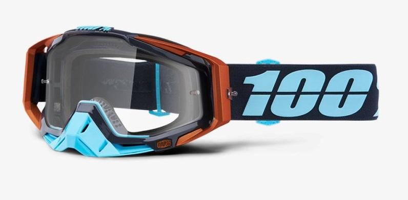 Okuliare RACECRAFT ERGONO, 100% (číre plexi /chránič nosa /20 strhávačiek)