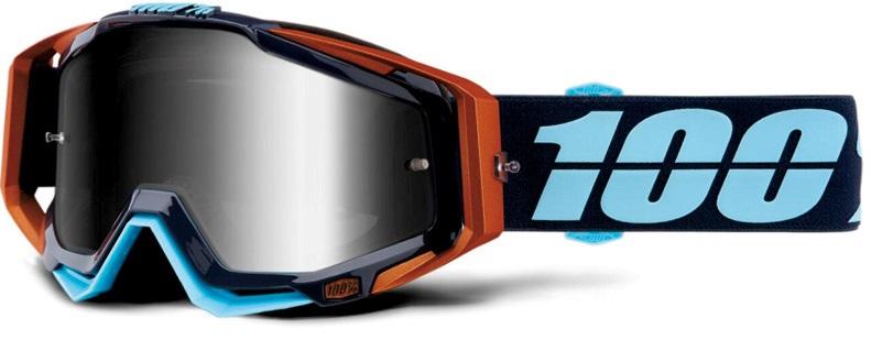 Okuliare RACECRAFT ERGONO, 100% (strieborné plexi /chránič nosa /20 strhávačiek)