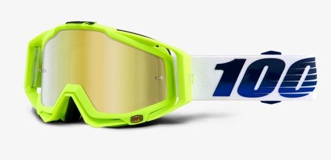 Okuliare RACECRAFT GP21, 100% (zelené plexi/číre plexi/chránič nosa/20strhávačiek)