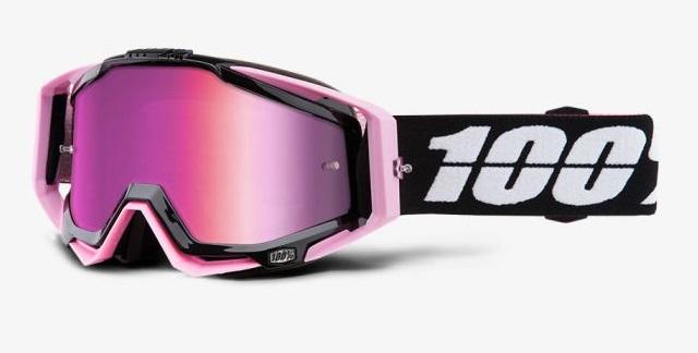 Okuliare RACECRAFT FLOYD, 100% (ružové plexi /chránič nosa /20 strhávačiek)
