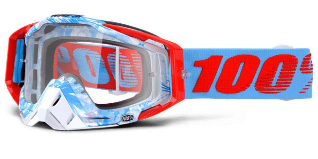 Okuliare RACECRAFT BOBORA, 100% (číre plexi/chránič nosa/20strhávačiek)
