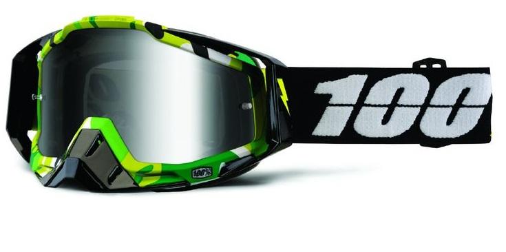 Okuliare RACECRAFT BOOTCAMP, 100% (strieborné plexi/číre plexi/chránič nosa/20 strhávačiek)