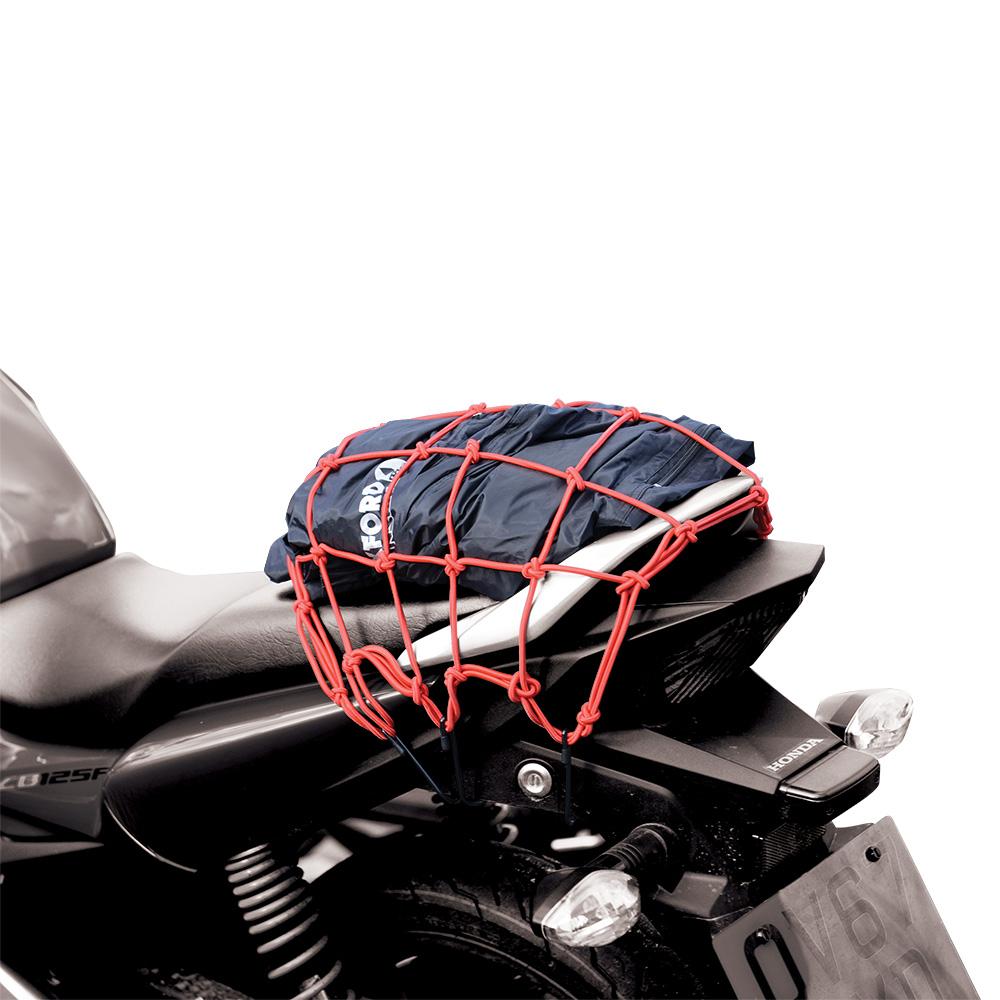 PRUŽNÁ BATOŽINOVÁ SIEŤ PRE MOTOCYKLE, OXFORD - (30X30 CM, ČERVENÁ)